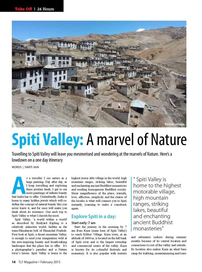 Spiti Valley_TLF Mag_Feb'15 issue