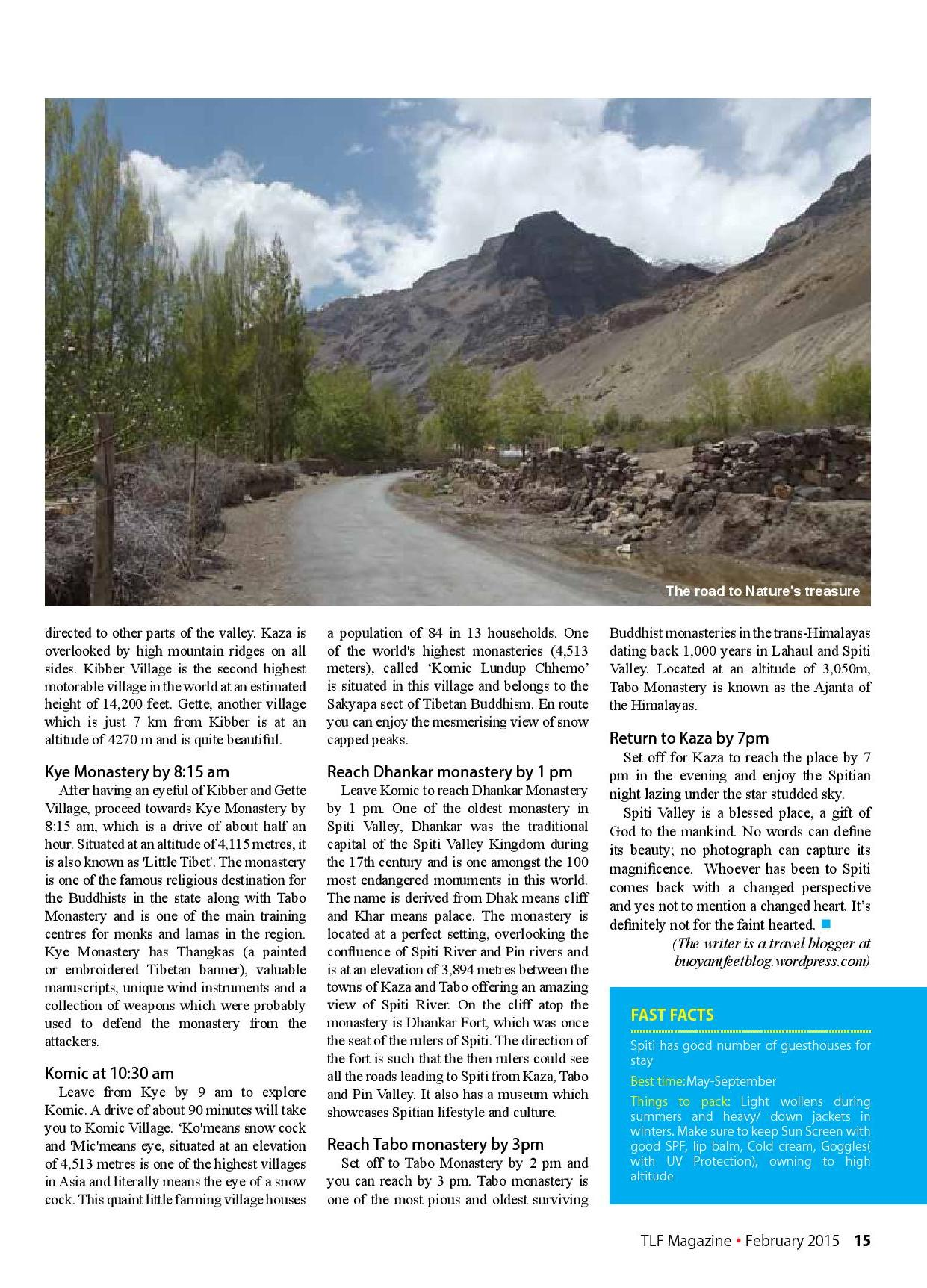 Spiti Valley_TLF Mag_Feb'15 issue_1