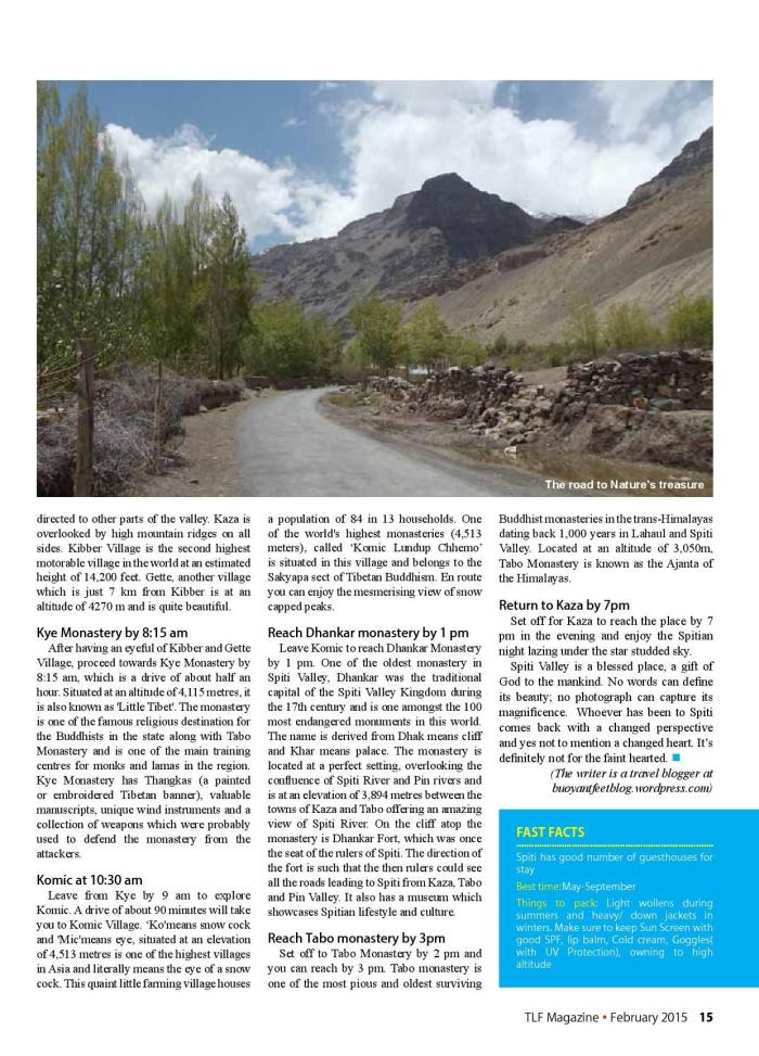 Spiti Valley_TLF Mag_Feb'15 issue_1