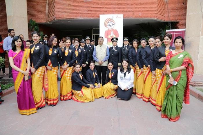 Air India CMD, Mr. Ashwani Lohani with the women crew at the felicitation ceremony to mark the International women's day