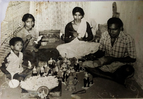 An artisan showed this 40 year old picture of his family making the wooden toys at Kondapalli village.