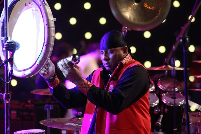 Sivamani performing at the festival