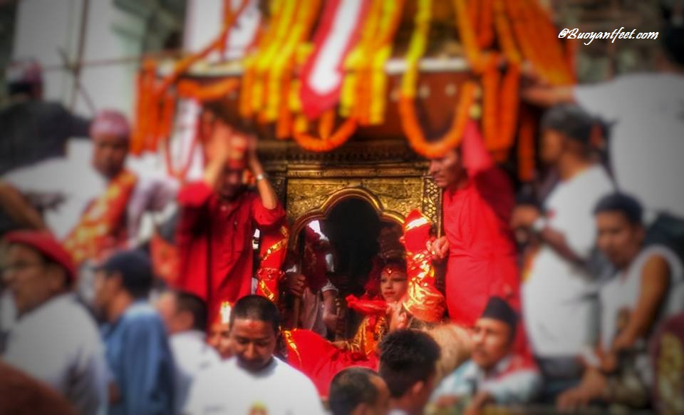 Spotting the child goddess of Nepal during the Indra Jatra festival