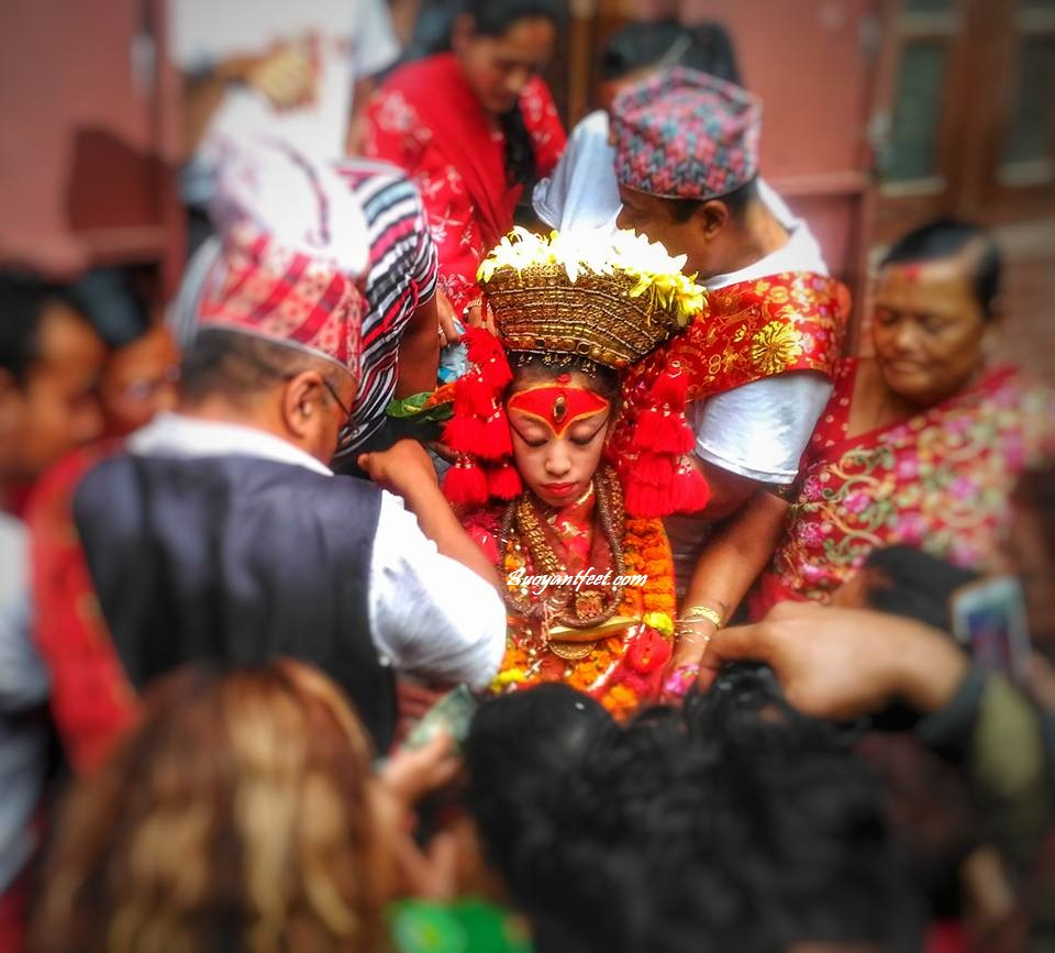 The Kumari Goddess of Nepal coming out of her abode during Indra Jatra
