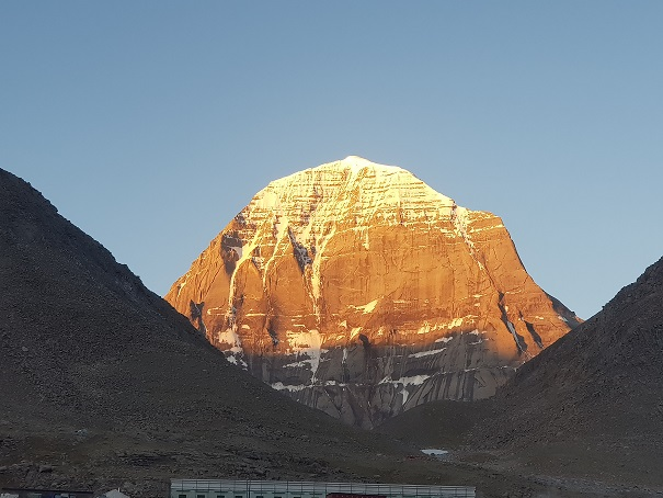 The first rays of Sun over Mount Kailash. Honestly, this is the most spectacular view of this sacred mountain on Kailash Mansarovar Yatra