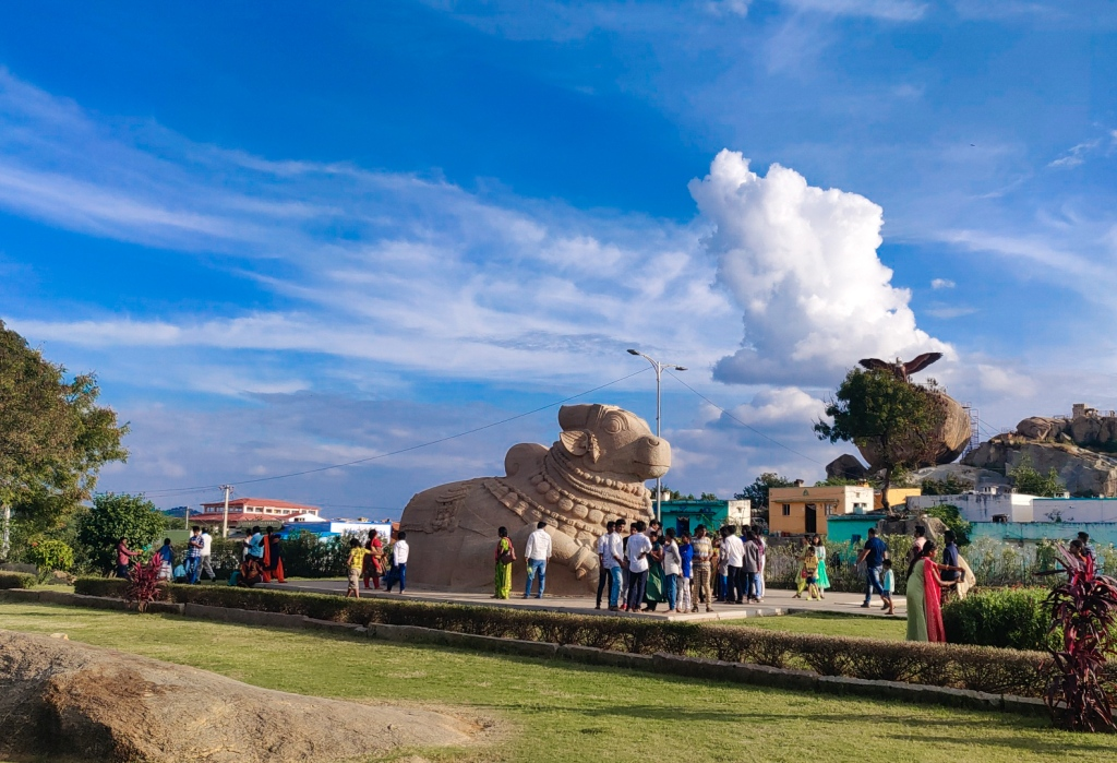 The distant view of Nandi Bull and Jatayu in one frame in Lepakshi Village of Andhra Pradesh