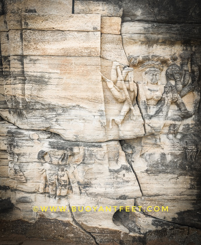 The carvings of deities on the caves at Udayagiri