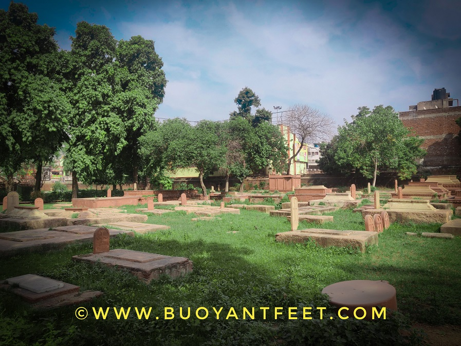 The graveyards here at Roman Catholic Cemetery of Agra. You will find one at every second step