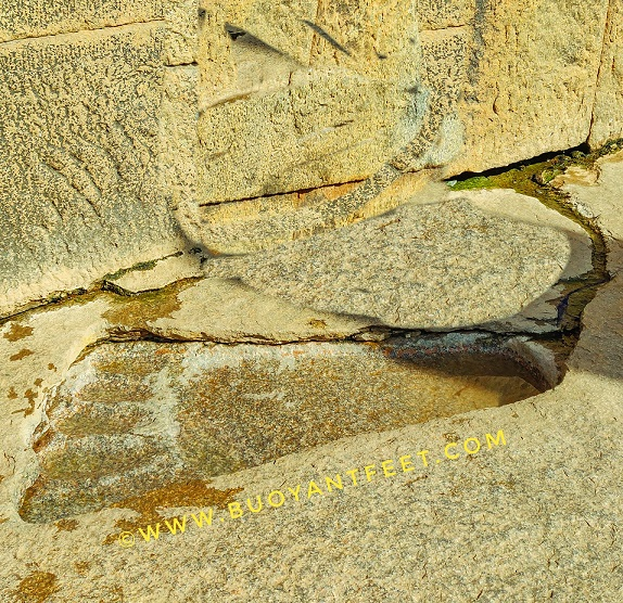 A foot mark which is believed to be of Devi Sita from the mythological Ramayana. It is said that while Jatayu, the vulture fell on the grounds of Lepakshi wounded, Devi Sita prayed for his wellbeing and after she left with the Demon King Ravana, it started to rain and the water got collected in her footprint so that Jatayu can drink it easily. It is said that it is this water that gave the strength to Jatayu to remain alive, till the time Lord Rama and his brother Laxman came in search of Devi Sita