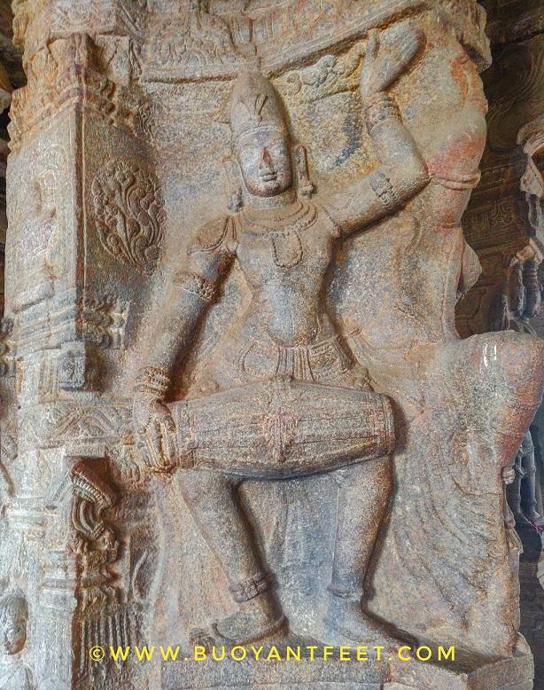 One of the beautifully carved pillar inside the main sanctum of Lepakshi Veerbhadra temple