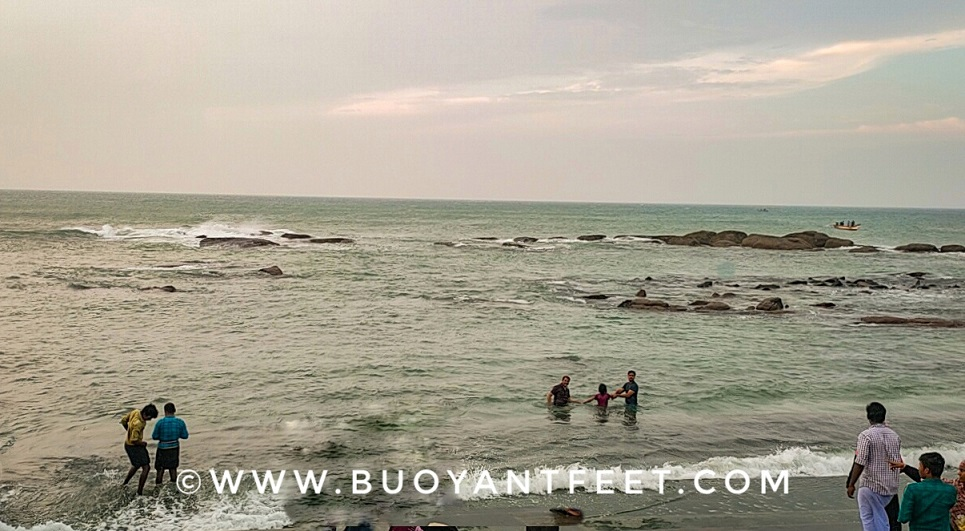 Triveni Sangam at Kanyakumari beach. This is where the three seas meet to form a confluence